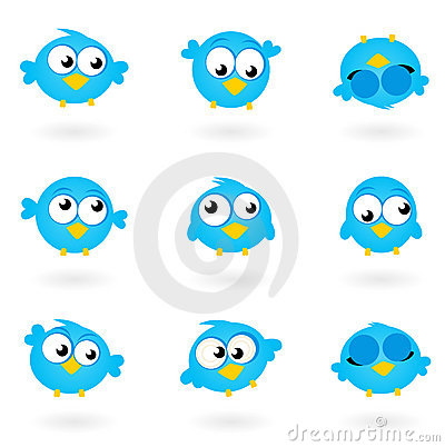 Cute blue vector Twitter Birds icons collection.