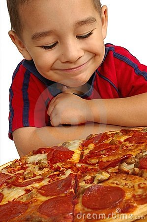 Free Cute Boy And Pizza Royalty Free Stock Image - 3535686