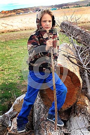 Cute Boy in Camo Hoodie