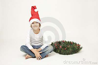 Cute boy with christmas cap