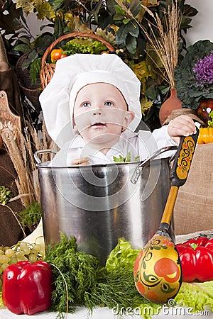 Cute boy in a cook pan