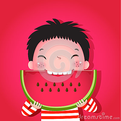 Free Cute Boy Eating Watermelon Royalty Free Stock Photo - 55187615
