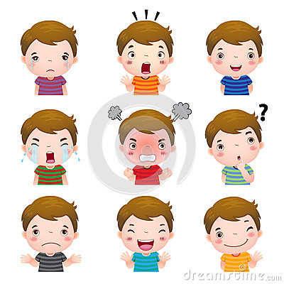 Free Cute Boy Faces Showing Different Emotions Royalty Free Stock Photo - 60785255