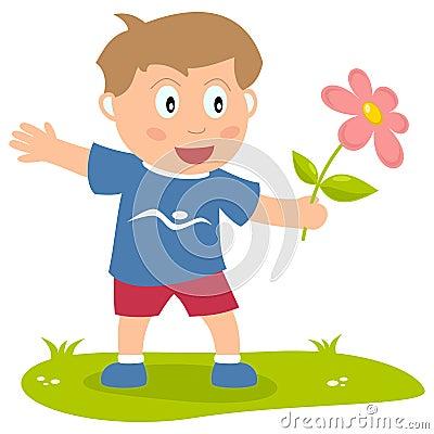 Cute Boy with Flower