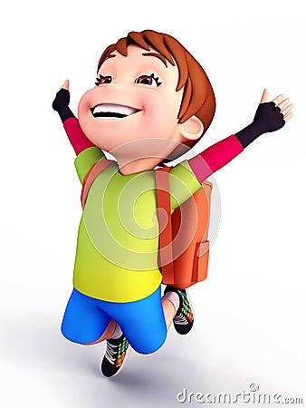 Cute boy flying with school bag