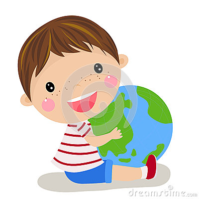 Cute boy holding the globe
