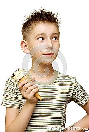 Cute boy with ice cream