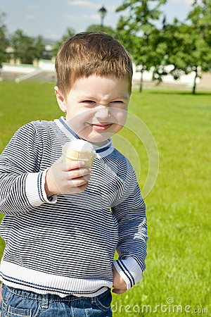 Cute boy with ice-cream