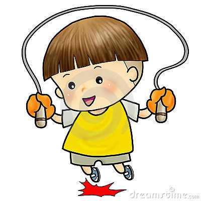 Cute boy jump with skipping rope