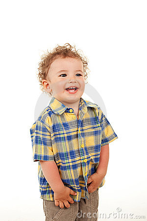 Cute boy laughing