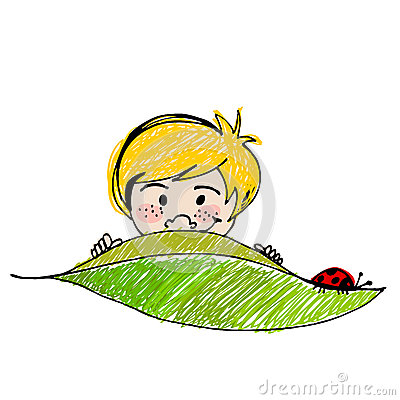 Cute boy with leaf