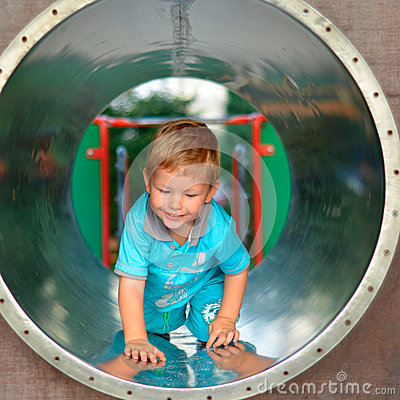 Free Cute Boy Playing In The Playground Royalty Free Stock Photos - 44405368