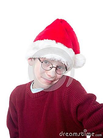 Cute Boy in Santa Hat