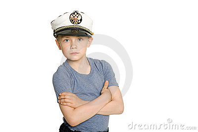 Cute boy in a sea cap