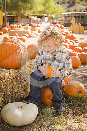 Cute Boy Sitting and Holding His Pumpkin at Pumpkin Patch