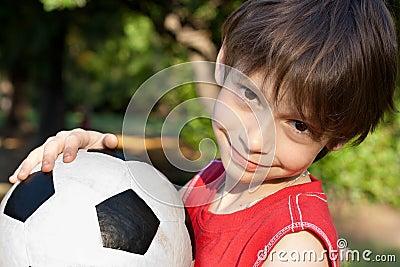 Cute boy with soccer ball