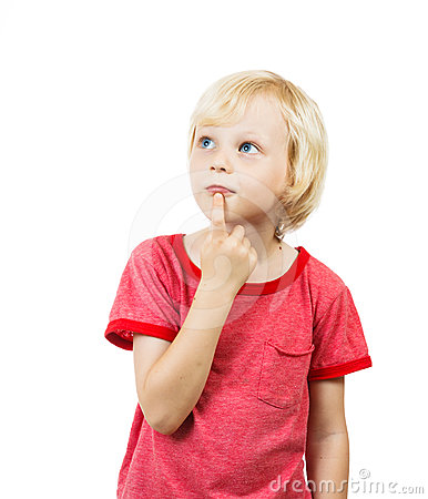Free Cute Boy Thinking Royalty Free Stock Image - 24555626