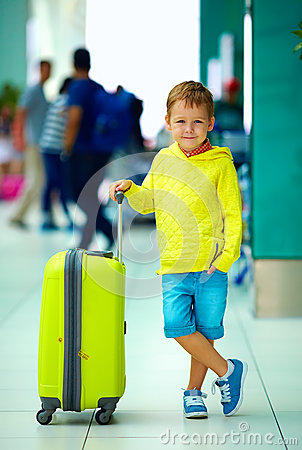 Free Cute Boy With Luggage In Airport, Ready For Summer Holidays Royalty Free Stock Photography - 53361577
