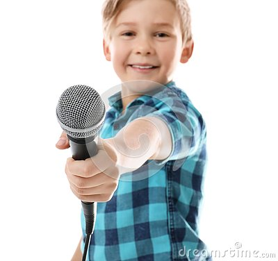 Free Cute Boy With Microphone On White Royalty Free Stock Image - 144307886