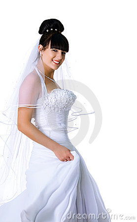 Cute bride in a white dress