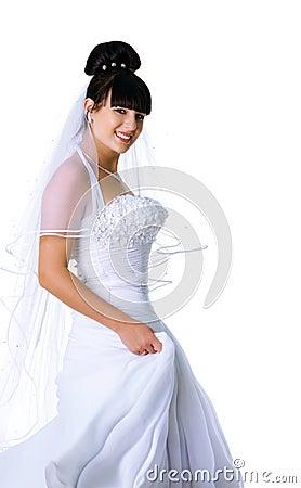 Cute bride in a white dress
