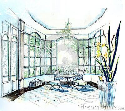Cute bright sunlight tea room