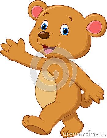 Free Cute Brown Bear Cartoon Waving Hand Stock Photos - 39806823