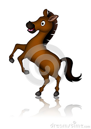 Cute brown horse cartoon posing