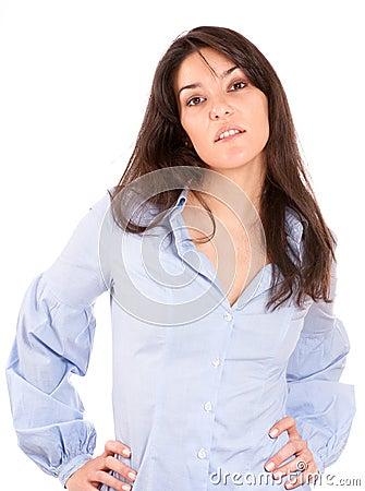 Cute brunette in a blue shirt