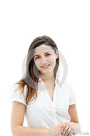 Cute brunette female