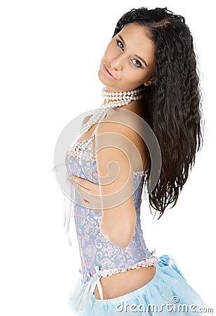 Cute brunette flirting in corset