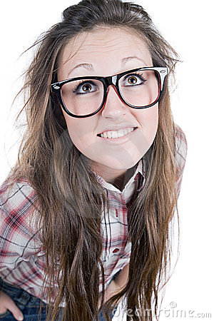 Cute Brunette Teenage Geek