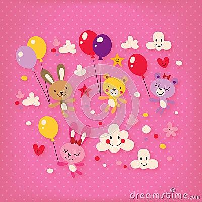 Cute bunnies and bears
