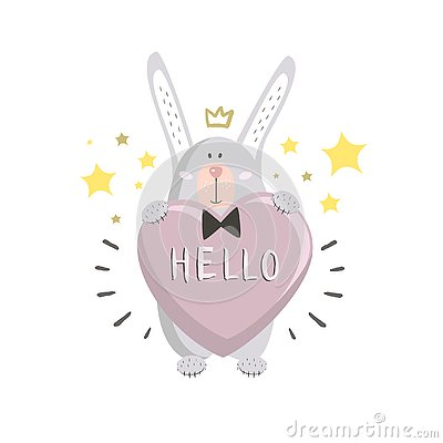 Cute bunny with heart and stars in doodle-style. Vector illustration.Valentine`s Day greeting card Cartoon Illustration