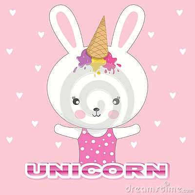 Cute bunny unicorn. Beautiful adorable rabbit in a ice cream cap on a pink background. Vector Illustration