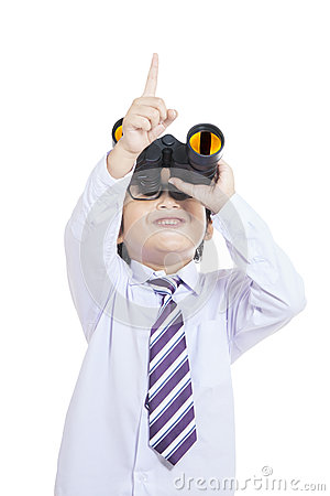 Cute business kid holding binoculars - isolated