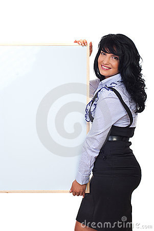 Cute business woman with blank banner