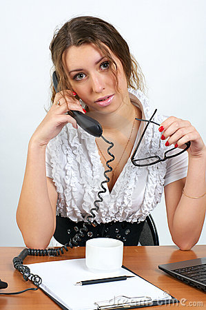 Cute business woman talking phone