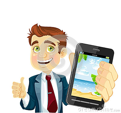 Cute businessman in a suit shows a photo resort