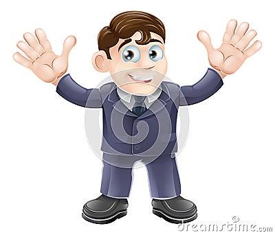 Cute businessman in suit waving