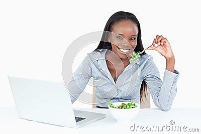 Cute businesswoman working
