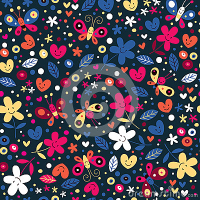 Cute butterflies, hearts and flowers pattern