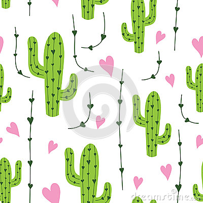 Free Cute Cactus Seamless Pattern With Hearts In Green, Pink And White Colors. Natural Vector Background Royalty Free Stock Images - 95121759