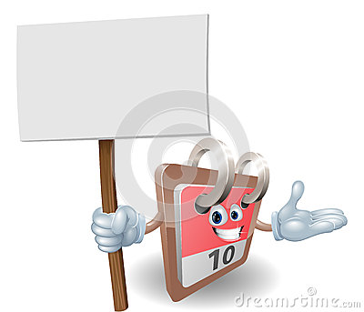 Cute calendar character holding a sign