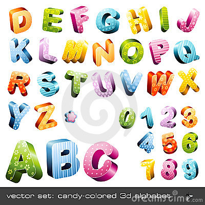 Free Cute Candy-colored 3d Alphabet Royalty Free Stock Photography - 9871047