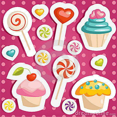 Free Cute Candy Stickers Stock Photo - 23130900