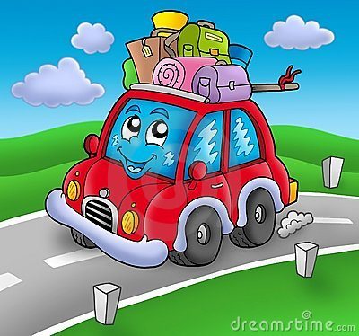 Cute car with baggage on road