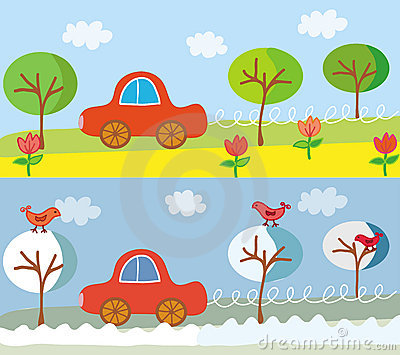 Cute car on the road in the summer or spring and w