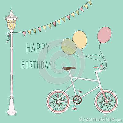 Cute card with balloons and bicycle
