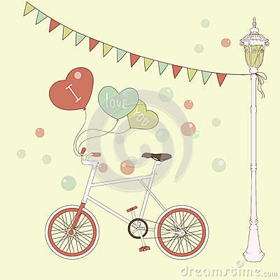 Cute card with balloons and bicyclefor valentines
